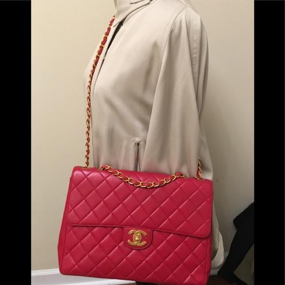 8086d9190881 CHANEL Bags | Jumbo Lamb Skin Bag Red Vintage | Poshmark